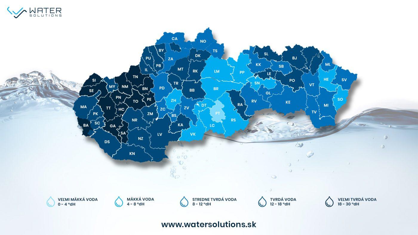 Mapa tvrdosti vody